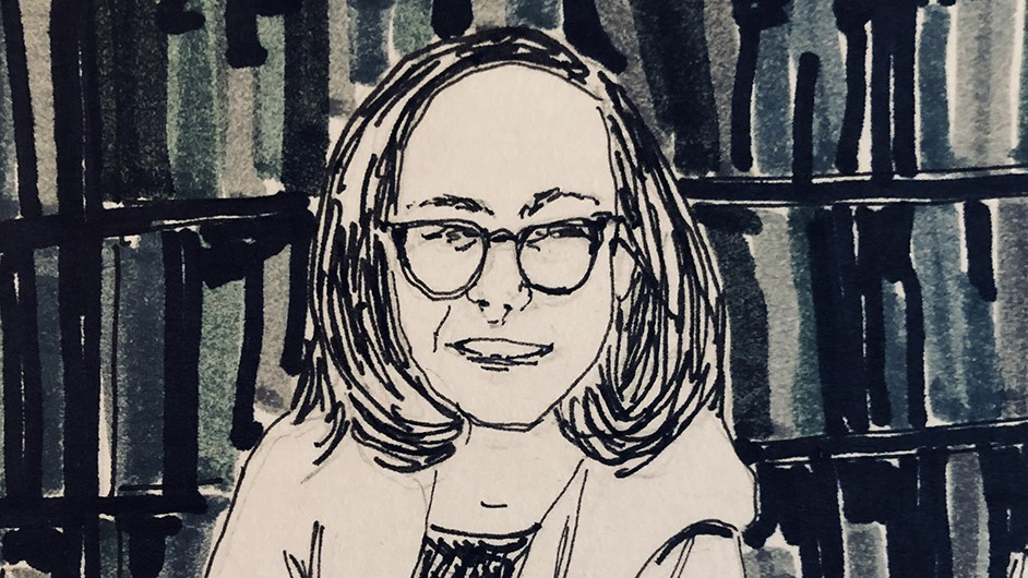 A self-portrait of Professor Rachel Adams that is in the comic she created for her students in Comics, Health, and Embodiment.